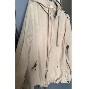 Cream colored Jacket with Hoodie
